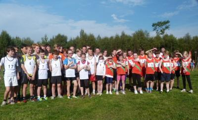Young athletes from Harmeny and Corstorphine clubs after the races at Curriemuirend Park on 28 September